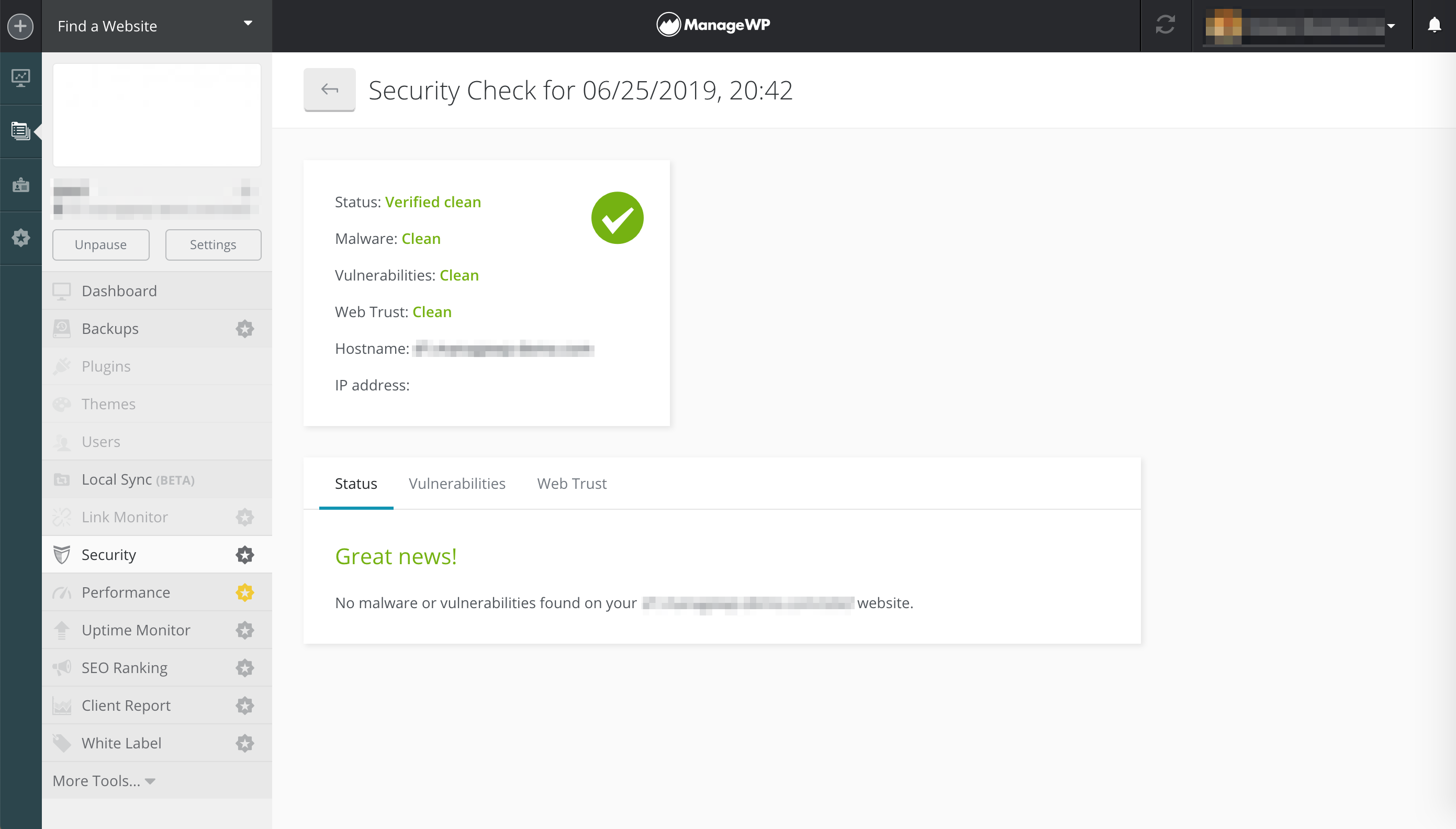 The results of a security check in ManageWP.