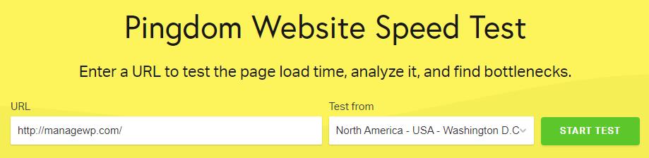 The Pingdom Tools homepage.