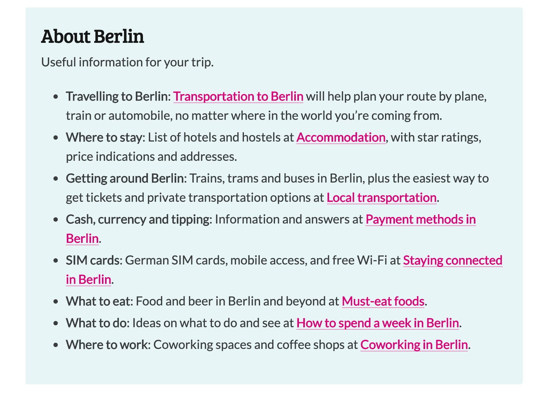 Information regarding Berlin from the WordCamp Europe 2019 site.