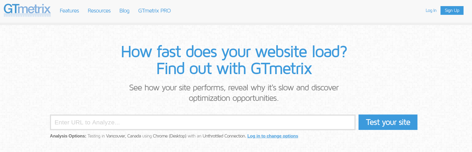The GTmetrix site performance tool.