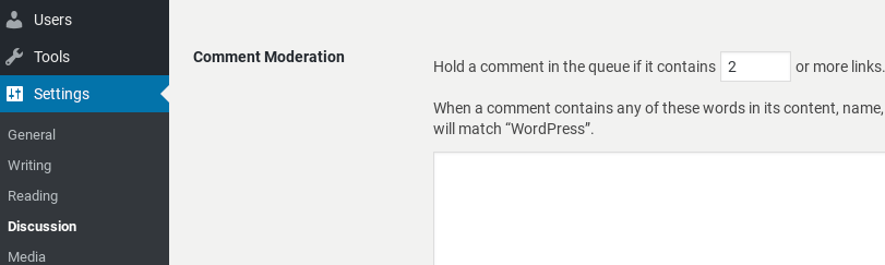 Moderating comments in WordPress.