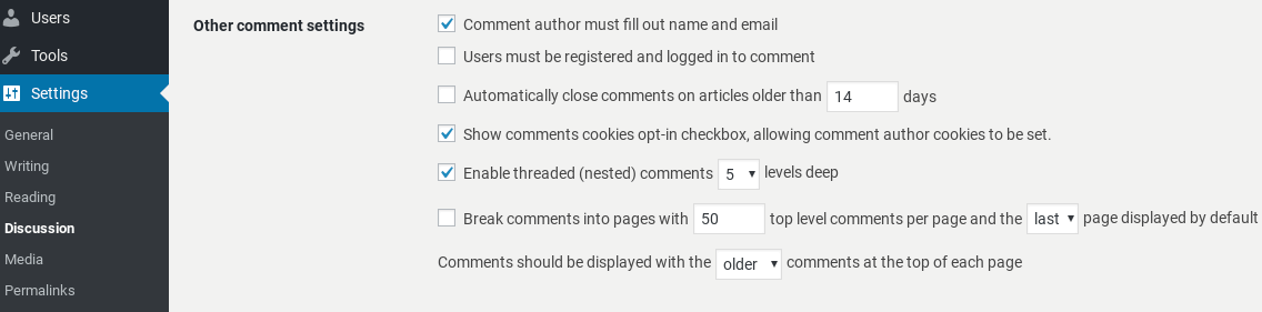 Comments settings in WordPress.