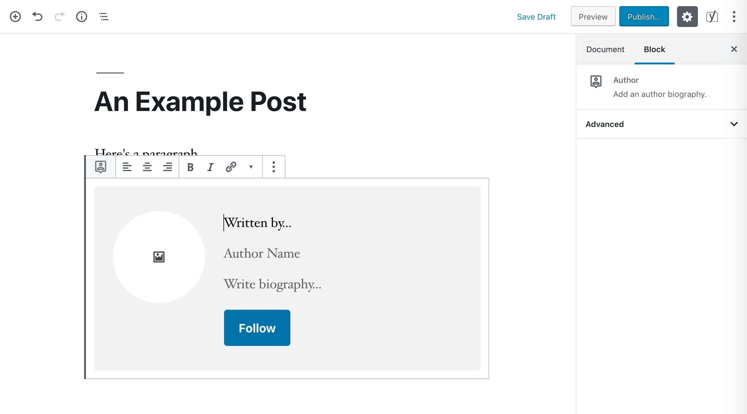 An Author block.