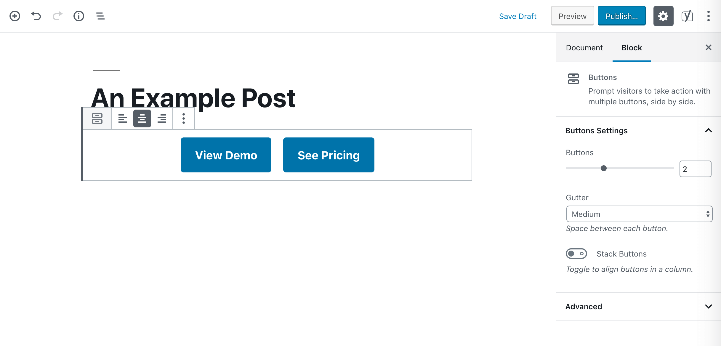 A Buttons block.