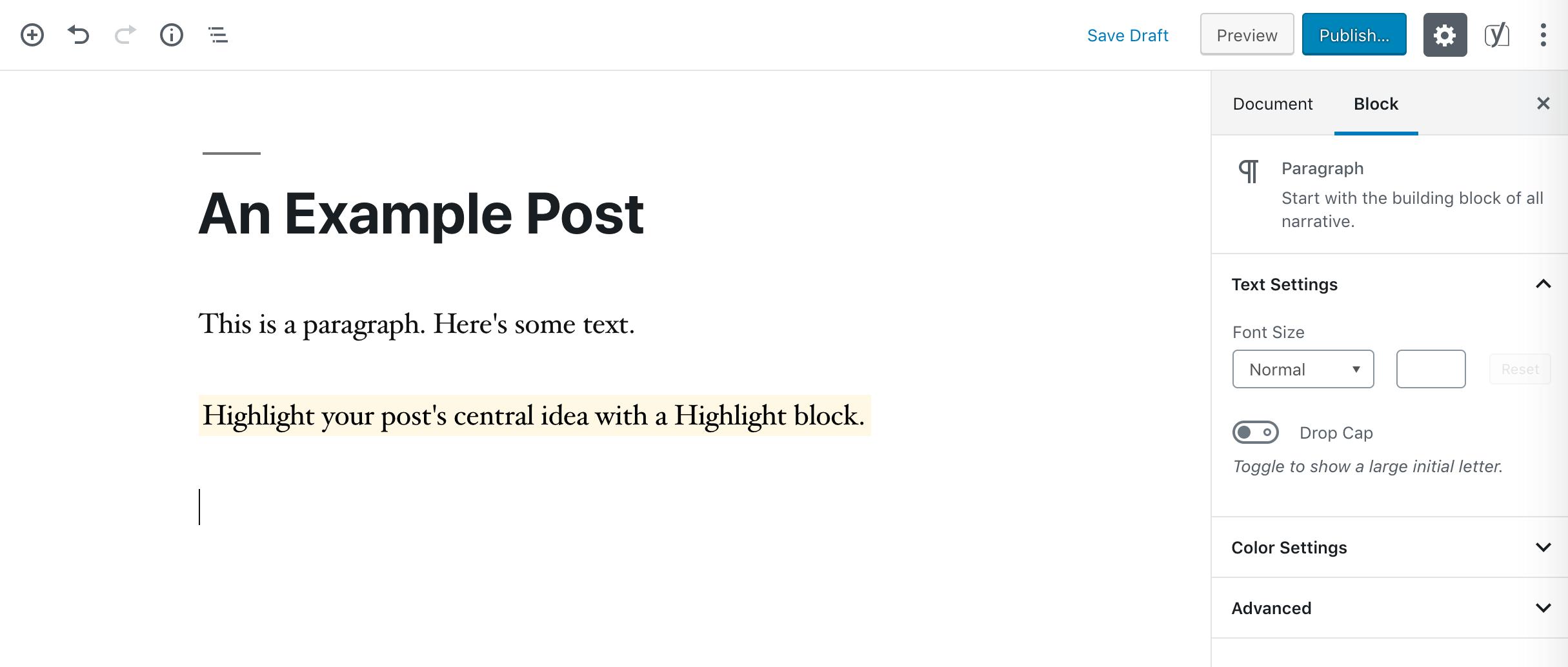 A Highlight block.