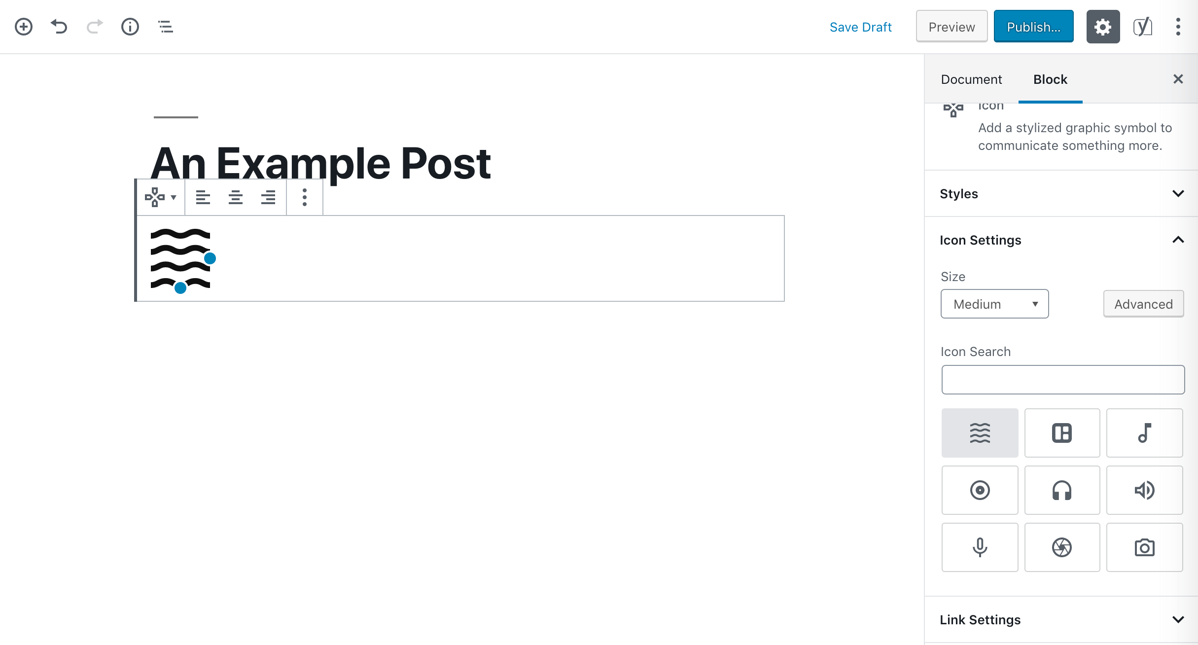 An Icon block.