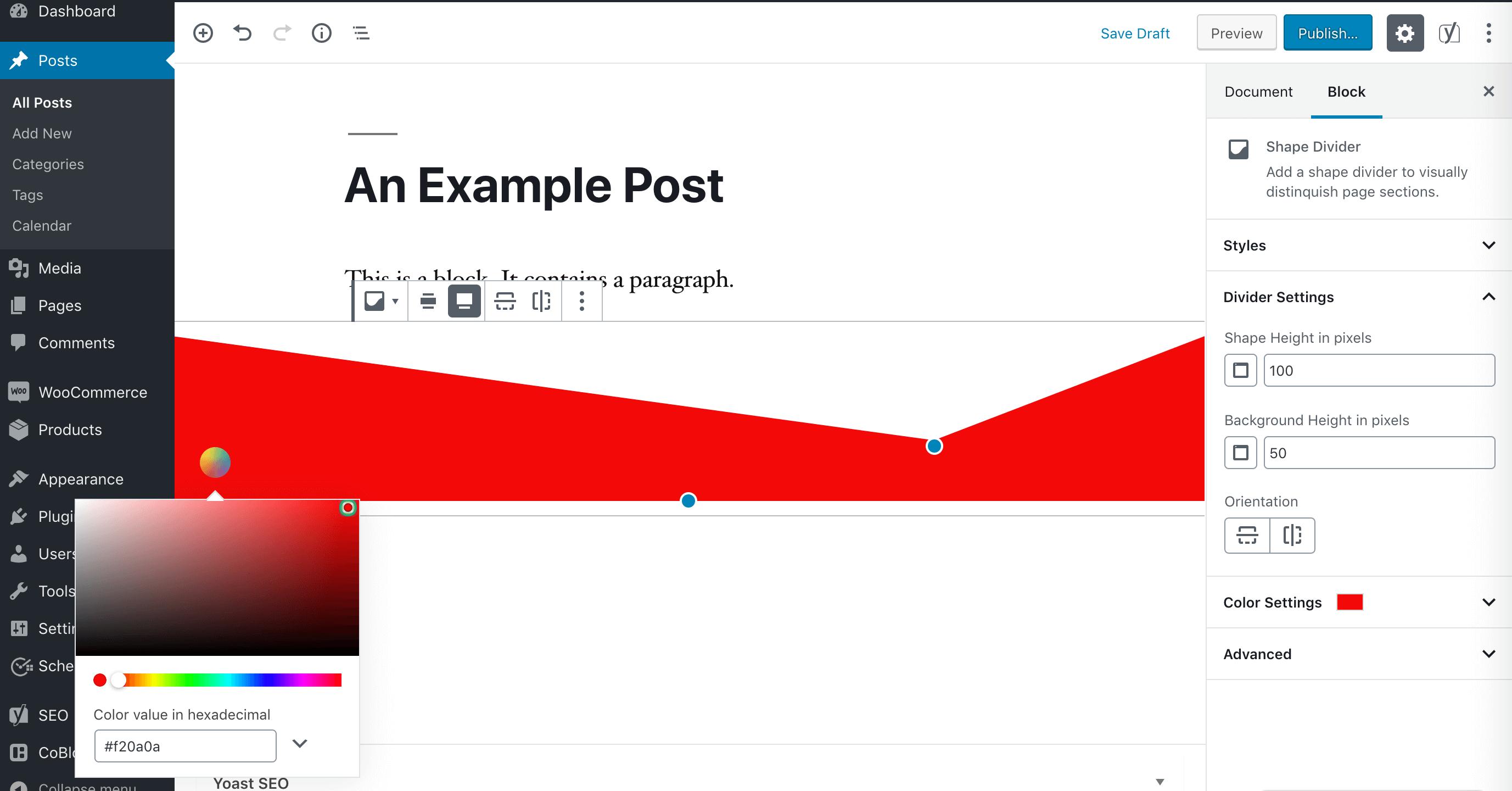 A Shape Divider block.