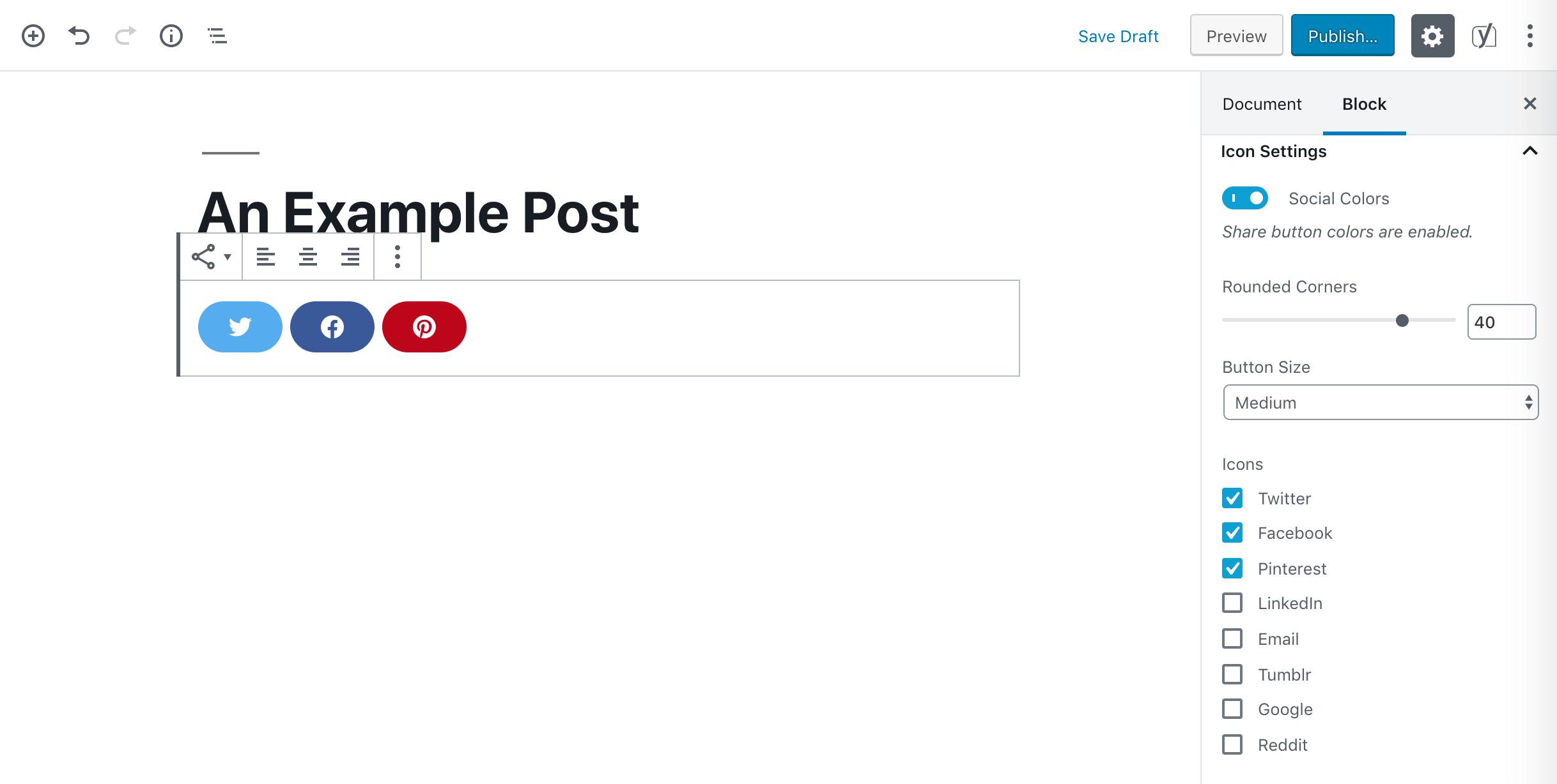 A Share block.