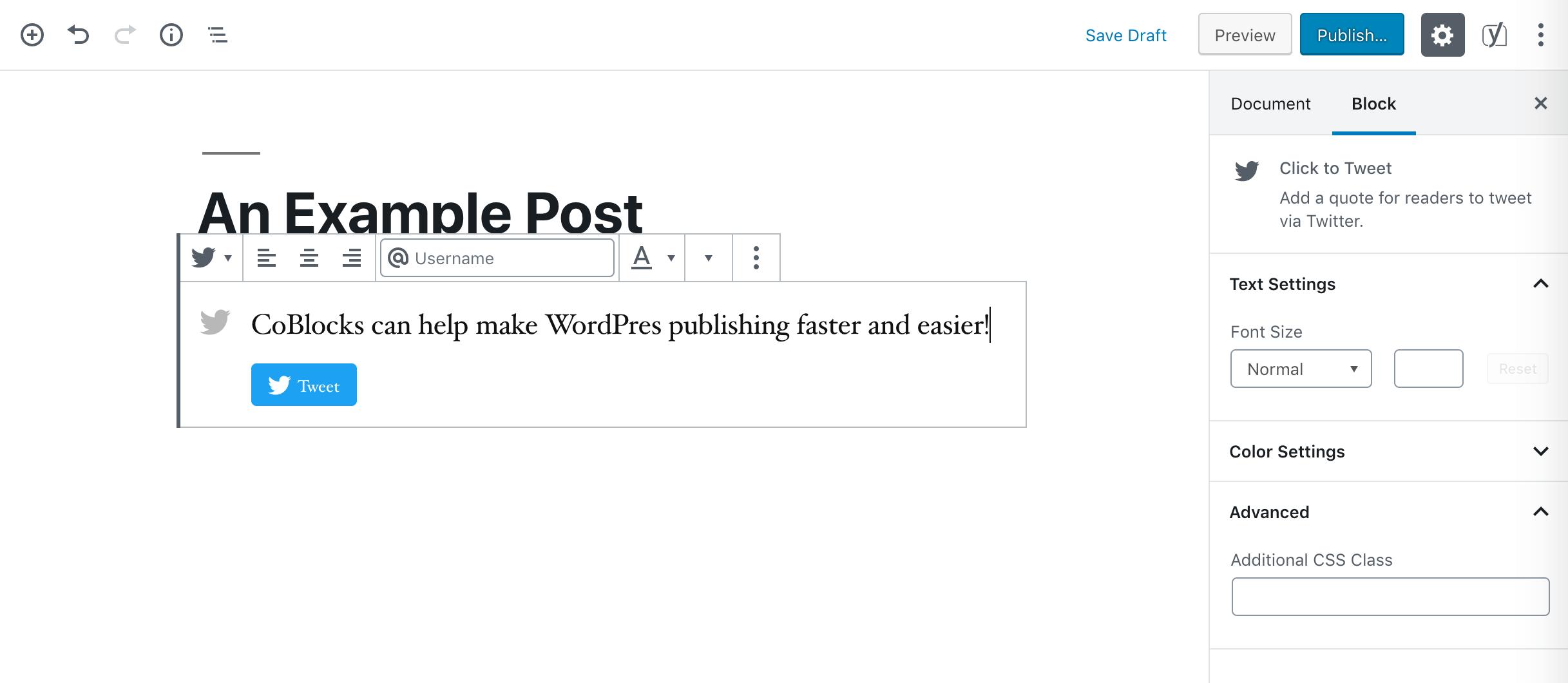 A Click to Tweet block.