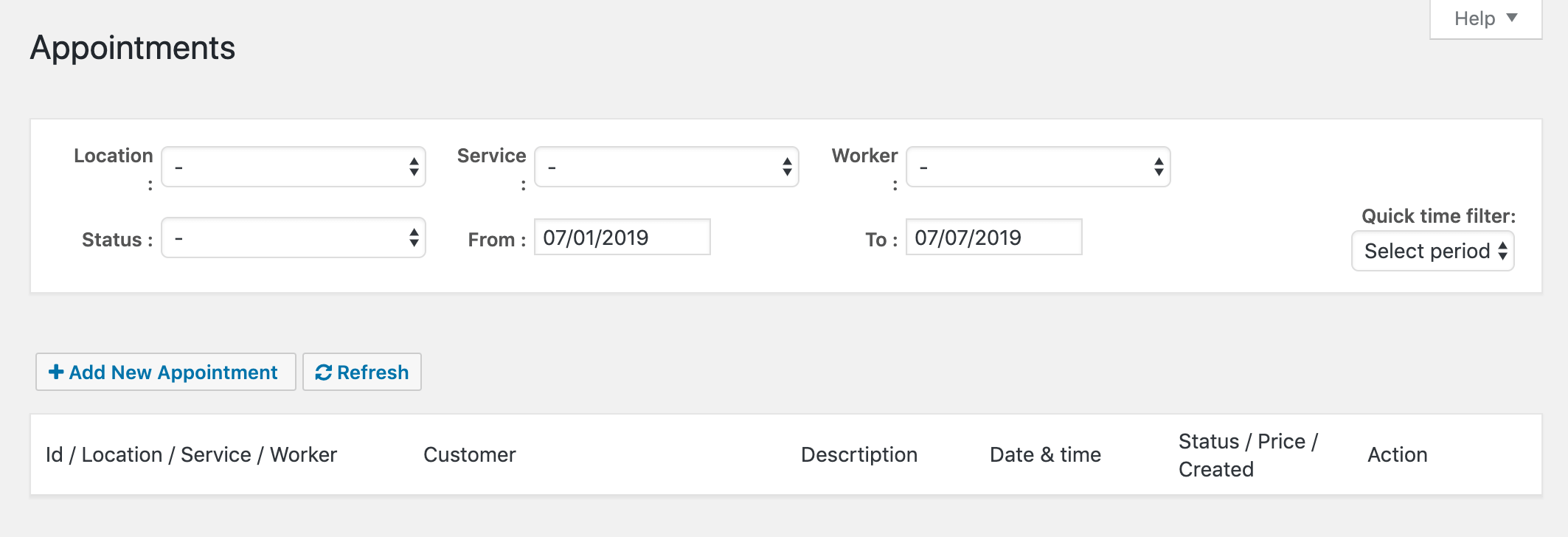 Creating a new appointment in Easy Appointments.