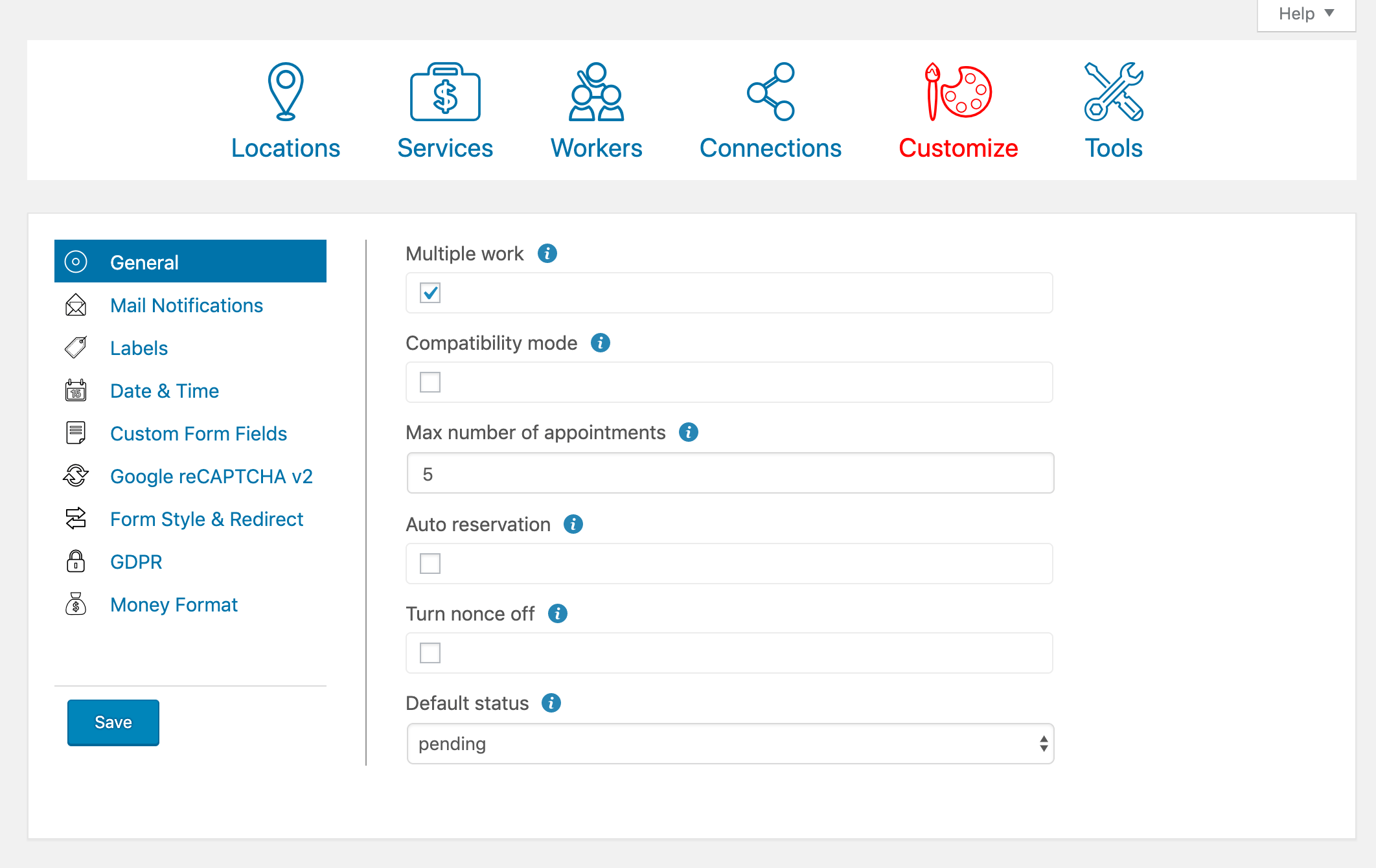 The Easy Appointments settings page.