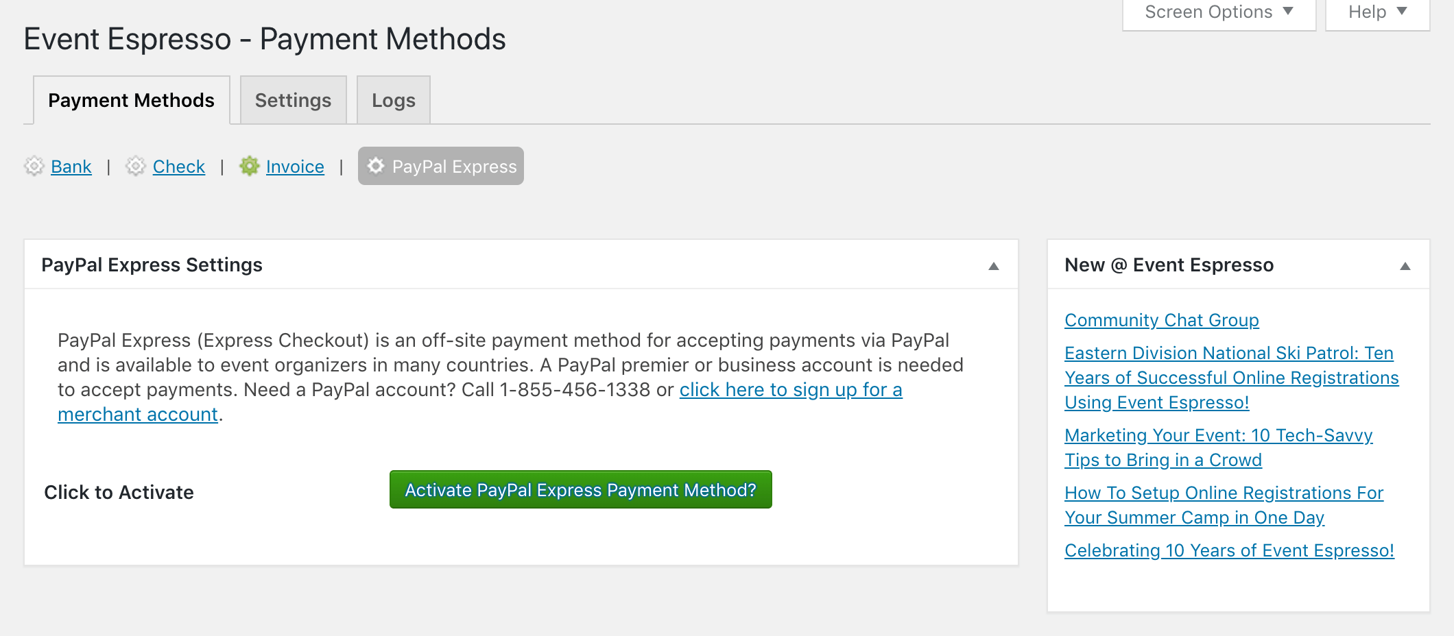 Setting up PayPal for Event Espresso.