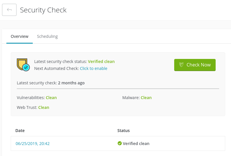 Security Check update on ManageWP dashboard.