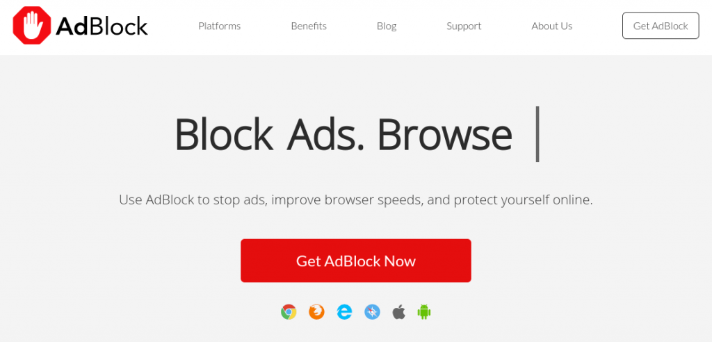 The AdBlock website home page.