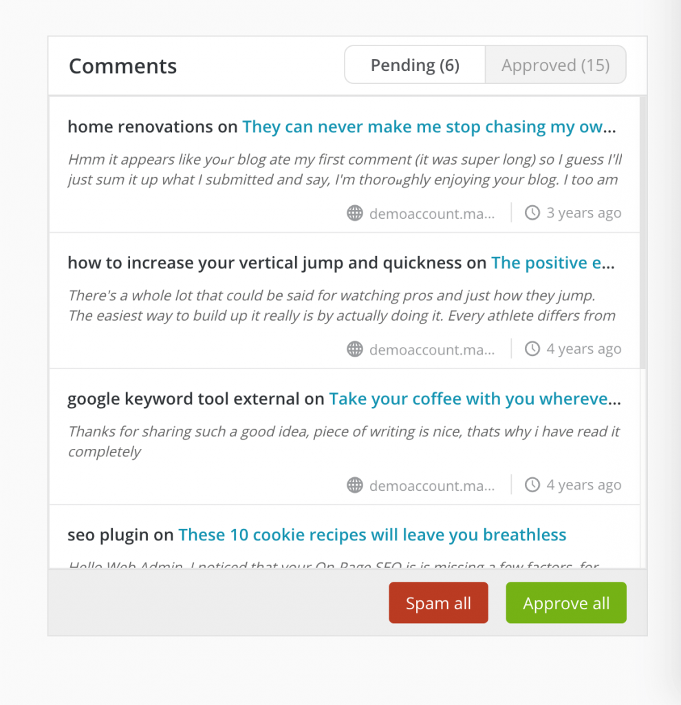 The Comments widget in the ManageWP dashboard.
