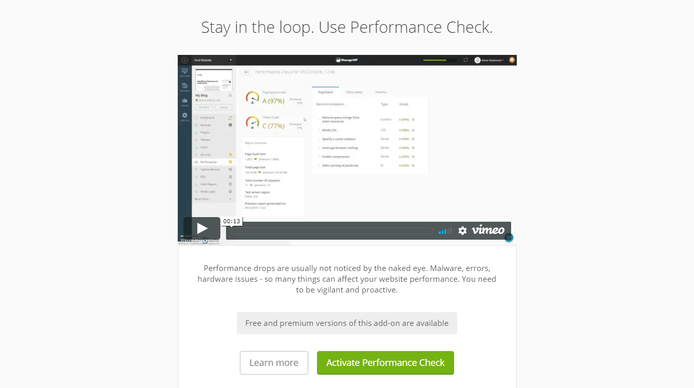 The Performance Check feature.