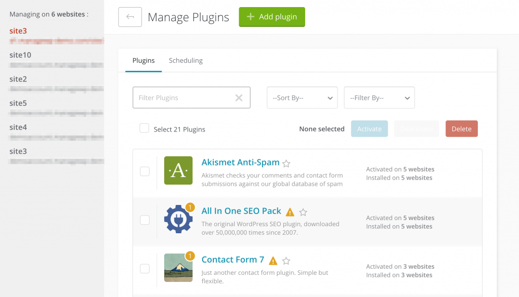 Managing plugins in the ManageWP dashboard.
