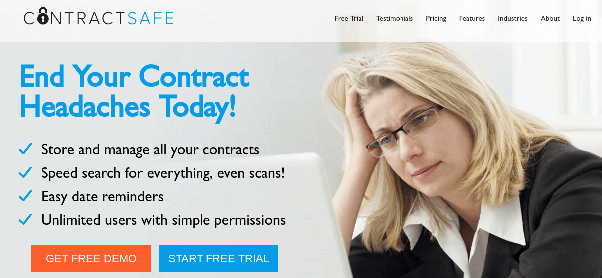 The ContractSafe website homepage.