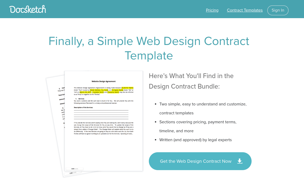 Docketch web design contract template.