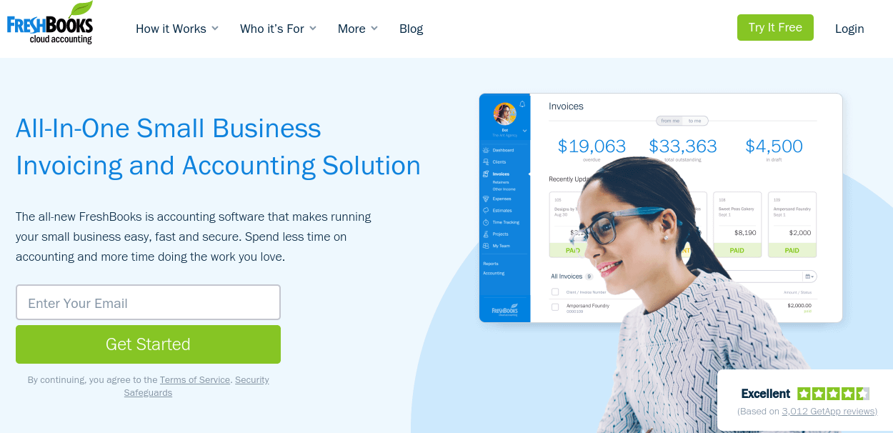 The FreshBooks homepage.