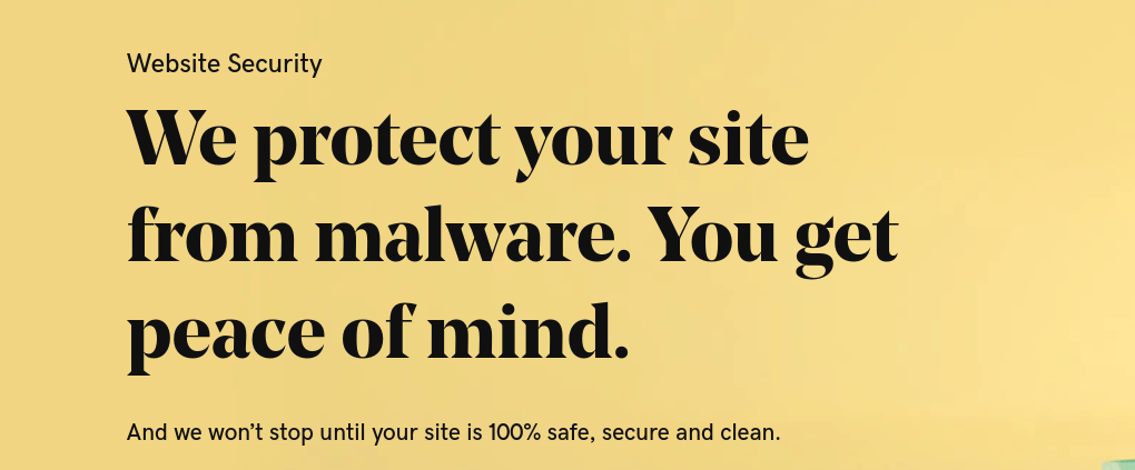 "The GoDaddy security site header which reads ""We protect your site from malware. You get peace of mind."""
