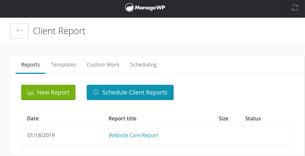 ManageWP Client Report dashboard.