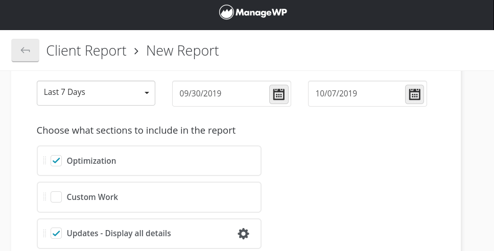 The ManageWP Client Report dashboard.