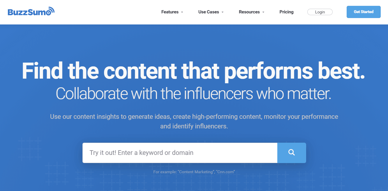 The BuzzSumo home page.