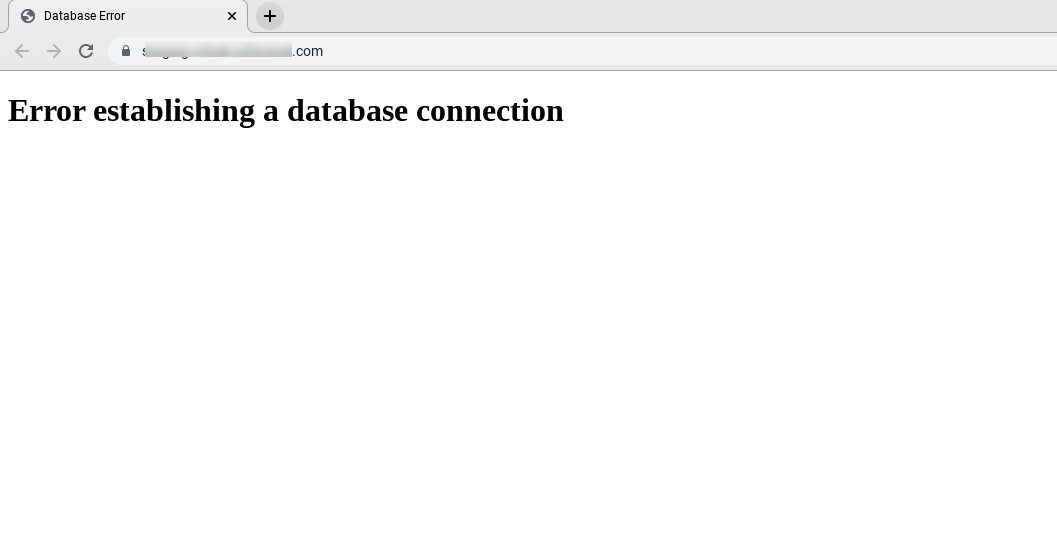 Error establishing connection message in a browser.