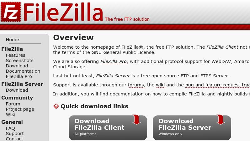 FileZilla download options.