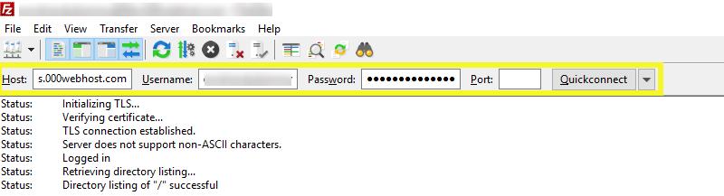 Login credentials on FileZilla.