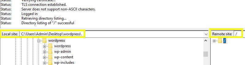 Local files in FileZilla.