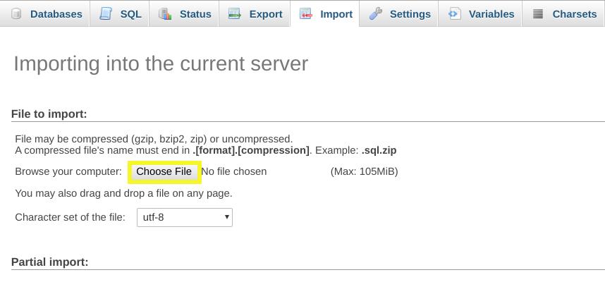 Selecting the backup database to Import into phpMyAdmin.