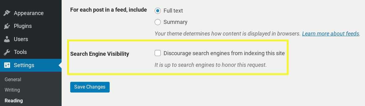 WordPress search engine visibility settings.