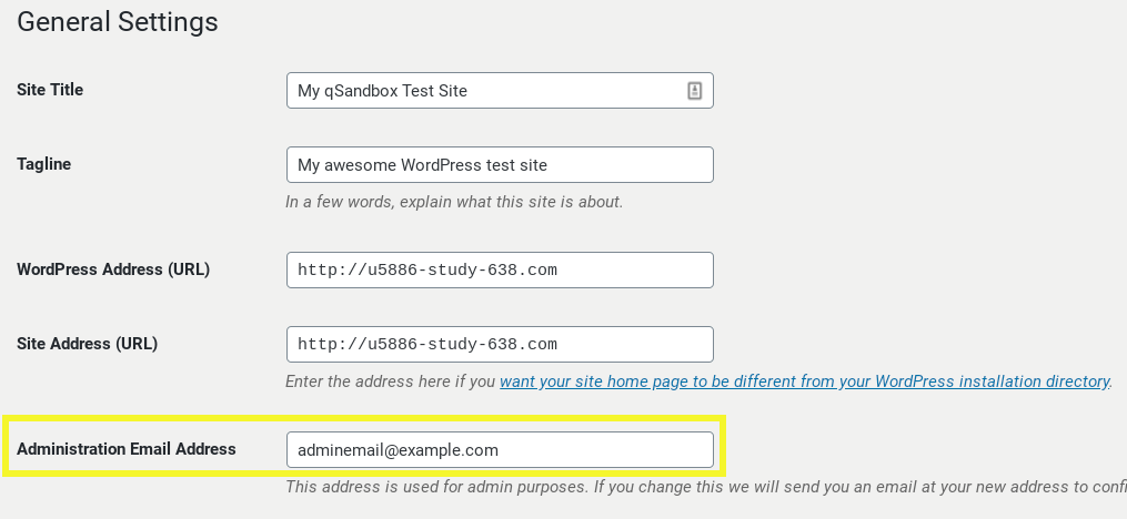 WordPress administration email settings.