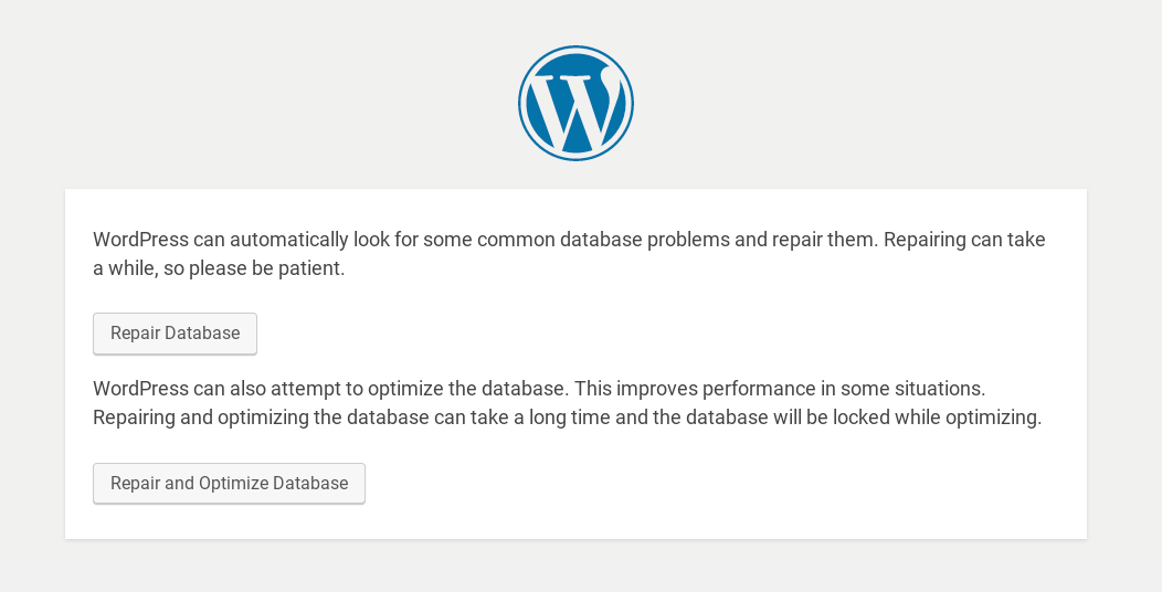 WordPress database optimization and repair options.