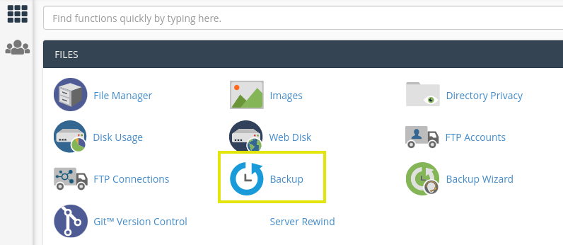 Backup option from the A2 Hosting cPanel dashboard.