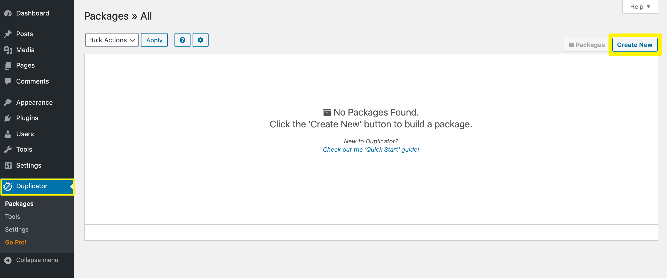 Creating a new package with the Duplicator plugin.
