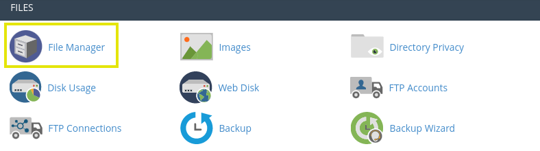 File Manager from cPanel dashboard.