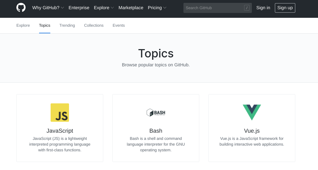 The Topics page on the GitHub website.