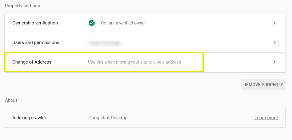 The option to change an address in Google Search Console.