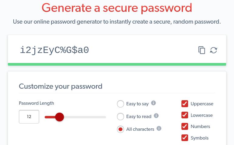 The LastPass Password Generator tool.