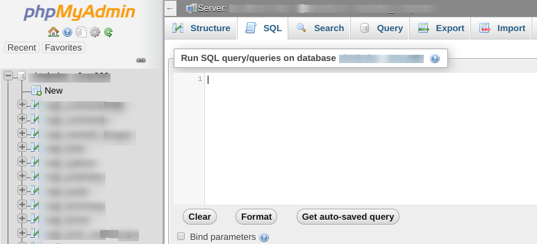 The SQL query window in phpMyAdmin.