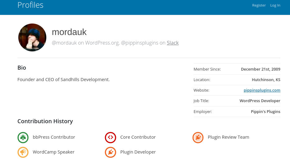 A WordPress Contributor profile with badges.
