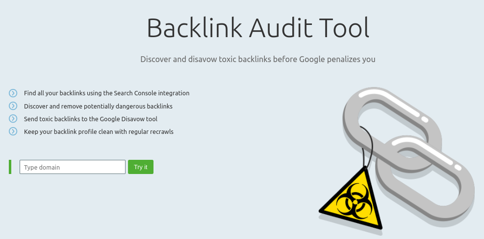 The SEMRush backlink audit tool.