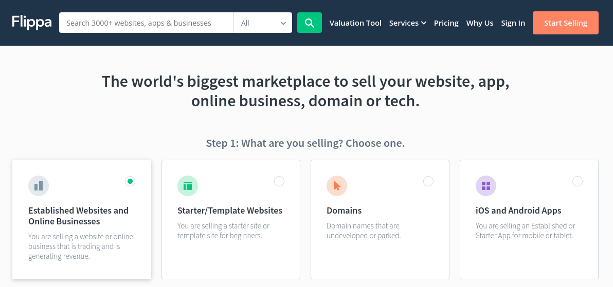 The Flippa website marketplace.