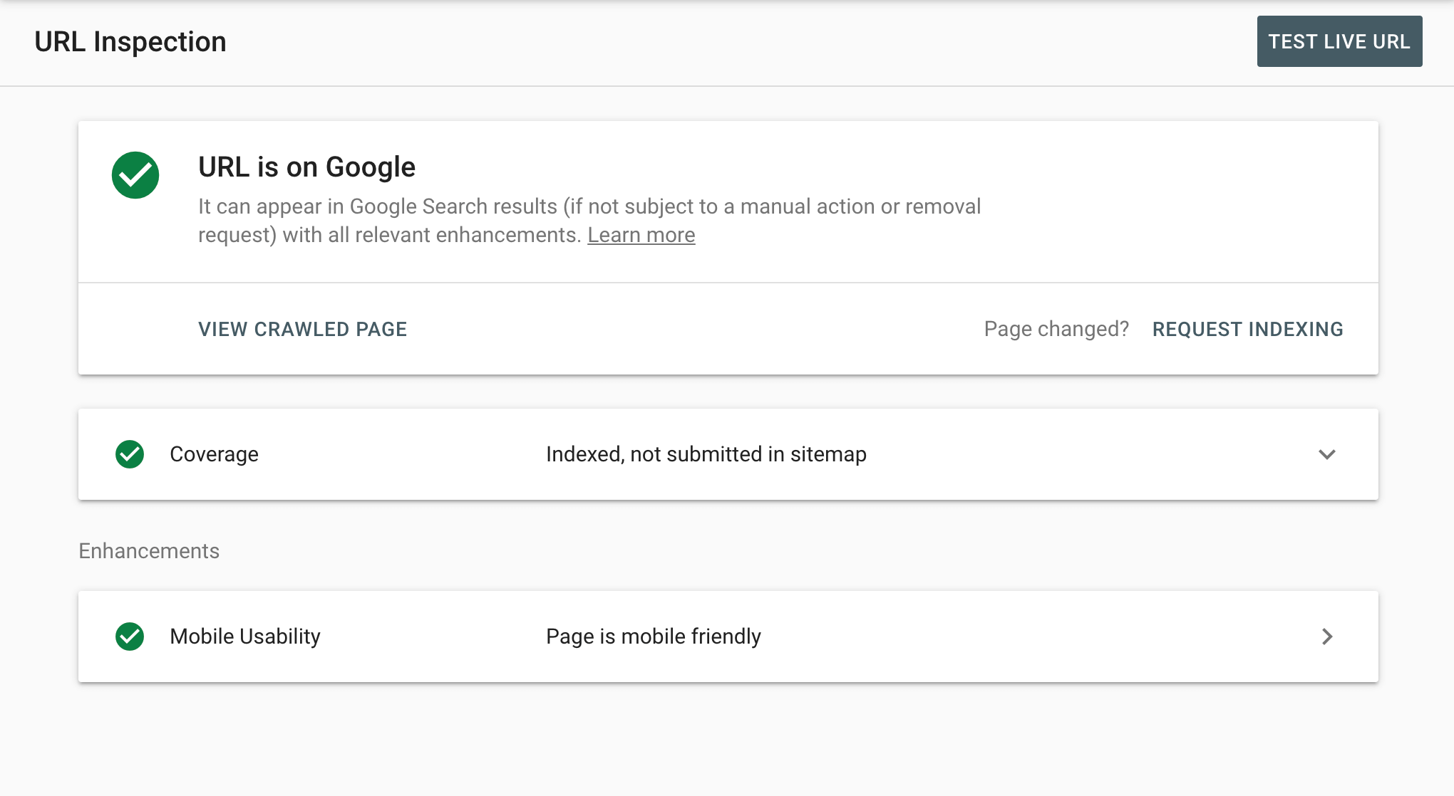 The URL Inspection tool in Google Search Console.