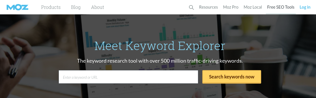 The Moz Keyword Explorer tool.
