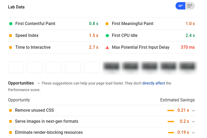 The report results from Google PageSpeed Insights.