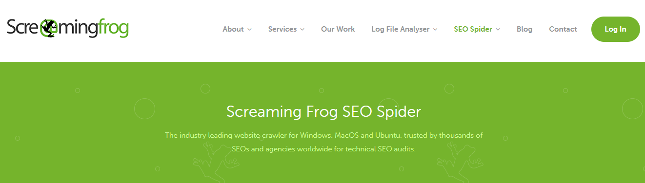 The homepage of the Screaming Frog website.